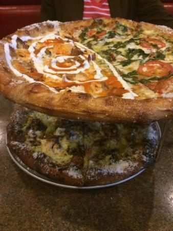Buffalo Chicken/Kosmic Karma, Maui Wowie Pizzas - Picture of Mellow ...