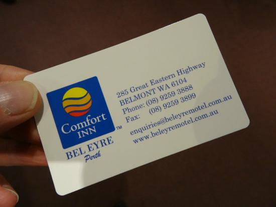 Business Card Picture Of Comfort Inn Bel Eyre Perth Belmont