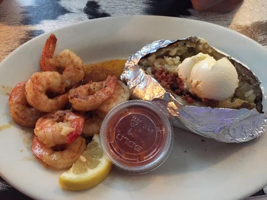 Horseshoe Steakhouse: Shrimp with loaded baked potato