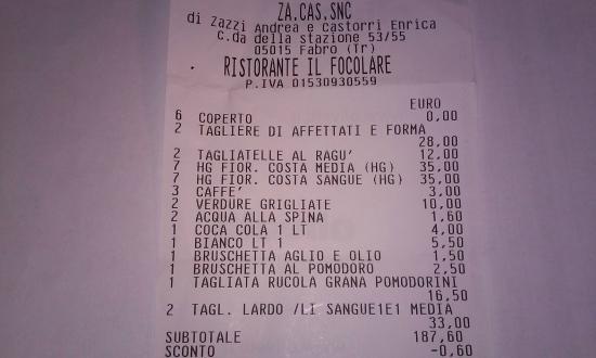 Fabro, Italie : scontrino fiscale
