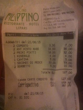 Ristorante Filippino: il conto