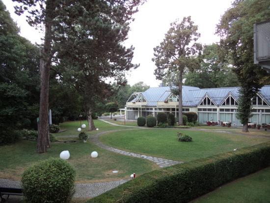 Hotel Rothof : 部屋から庭を見る