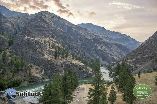 Solitude River Trips: Looking down on camp