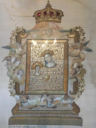 Church of Blazena Ozana: икона вышита шёлком, серебром, золотом и волосами