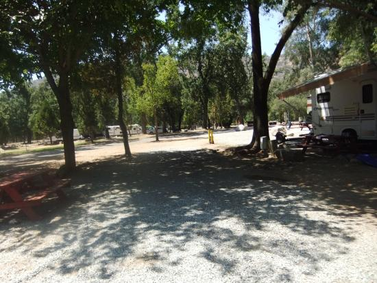 Sequoia RV Ranch: This is our Site #27, picnic table & firepit under shady trees on new gravel.