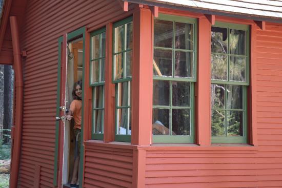 Prospect, OR: corner window - back bedroom of cabin 18