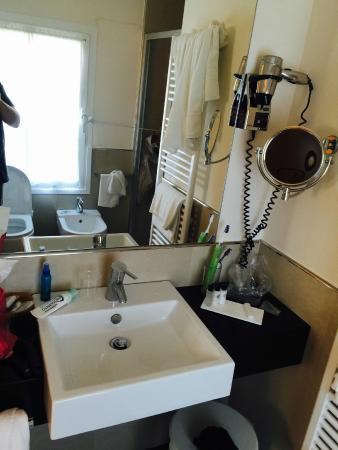 Annia Park Hotel Bath Sink Makeup Mirror And Hair Dryer Good Counter Space