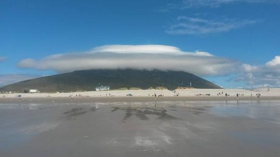Blackfield Surf School: The bus, it's coffee, the mountain and it's cloud (view from Keel Beach)