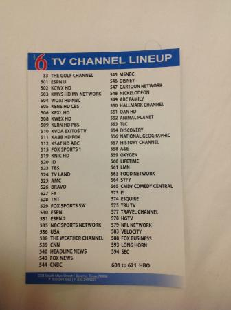 Motel 6 Boerne: Good selection of cable TV