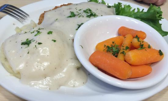 Kalama, WA: Chicken Fried Steak w/Mashed Potatoes & Gravy side of Cooked Carrots