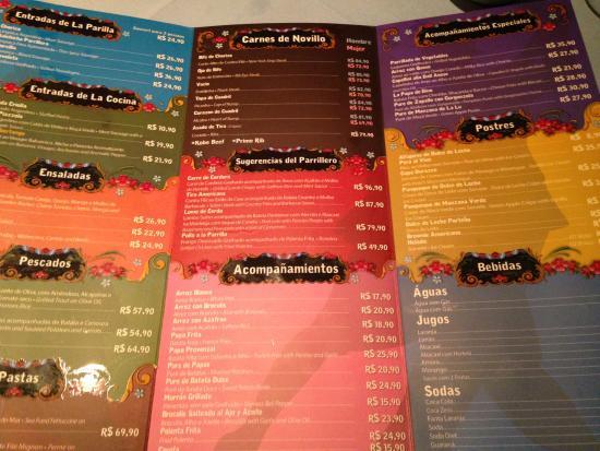 Menu colorido e lindo - Picture of Libertango Restaurant
