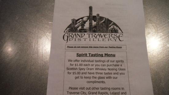 Grand Traverse Distillery: tasting menu