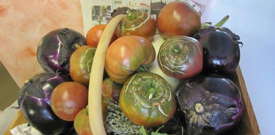 Trattoria Modigliani: Panier de légumes frais (aubergines et tomates noires de crimée)