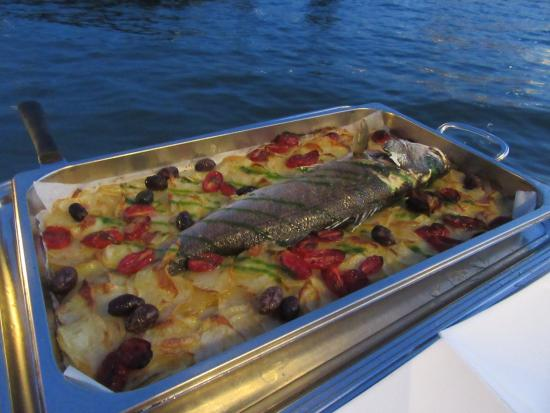 """Foto: """"Our whole baked sea bass with olives and potatoes - Riviera ..."""