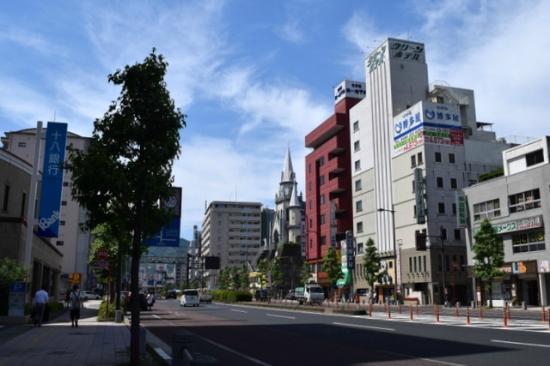 Sasebo Daiichi Hotel: 駅前の遊歩道から見えます。