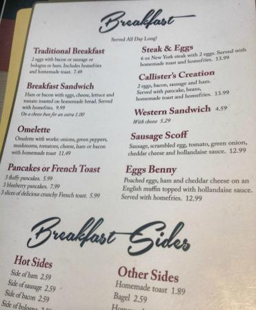 Callister S Country Kitchen Breakfast Menu