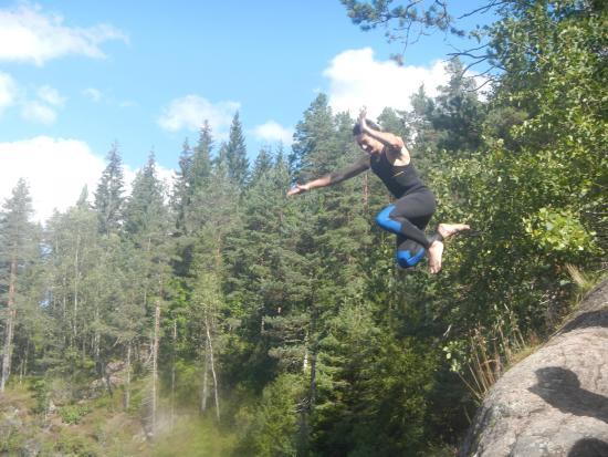 Vest-Agder, Noruega: Rafting : saut du rocher