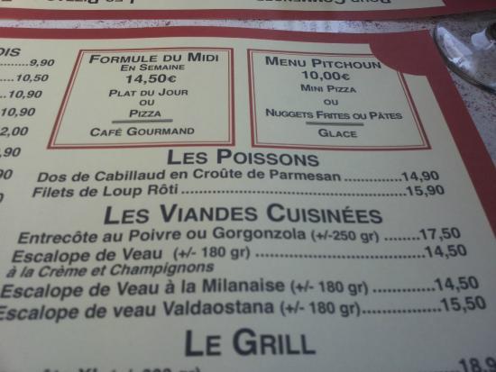 Grill d'Or : LA CARTE
