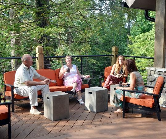 Dancing Bear Lodge: Enjoy the great outdoors from the patio of our new Event Center.