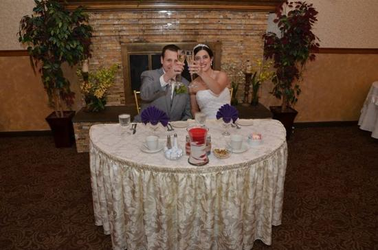 Bolton, CT: We chose the couple's table in front of the fireplace layout. :)