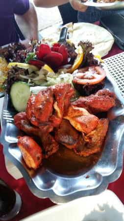 India Way Tandoori Restaurant: Delicious family meal....beetroot rose in salad....tandoori mix.. juicy and delicious