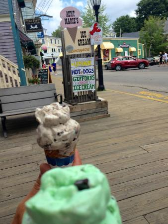 Aunt Marie's: Yummy cookies and cream and mint chocolate chip!