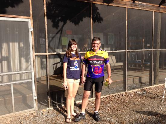 C&O Bicycle Shop: Scott and Ally after their night at The Chicken Coop!