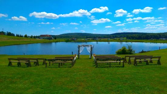 Swanton, MD: ceremony in front of pond