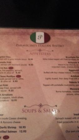 partial menue, logo for Paravicini's