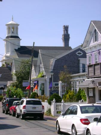 Provincetown, MA: Commercial Road, P'town, Mass looking northwestward toward the Pilgrim Monument & Museum.