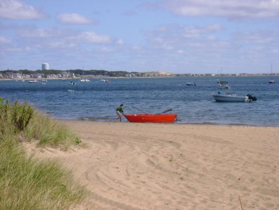 """Provincetown, MA: The """"Red Boat"""" on beach just off Commercial Road, P'town, MA."""