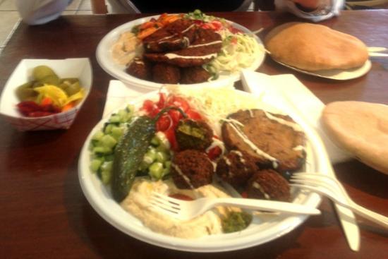 Mama's Vegetarian: Salad platter with the works! Eggplant and potato pancake, too!