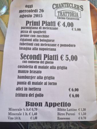 Date l Occhio al menù e al prezzo quando vi portano il conto ...