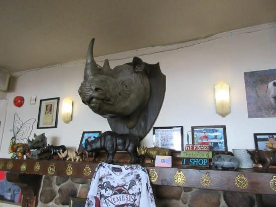 Remarkable Plastic Rhino Trophy Inside Over The Fireplace Mantel Download Free Architecture Designs Lukepmadebymaigaardcom