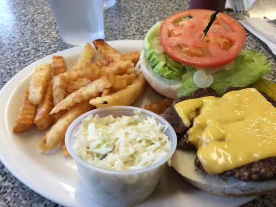 Lewis, NY: Delicious cheeseburger with coleslaw and fries