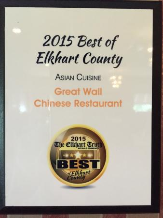 Great Wall Chinese Restaurant: 2015 Best Of Elkhart County Reward