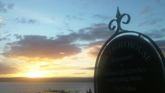 Pirnmill, UK: Setting sun at The Lighthouse Restaurant