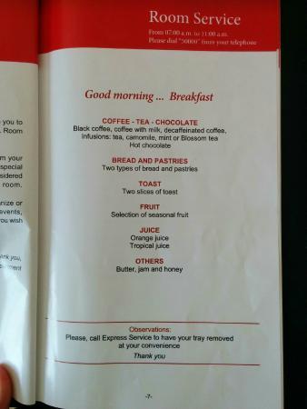 Luxury Bahia Principe Bouganville Don Pablo Collection : Room service menu