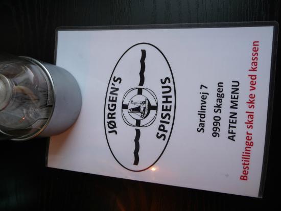Jorgens Spisehus: Forside På Spisekort