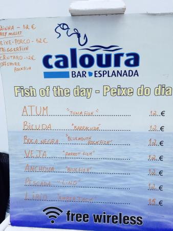Bar Caloura menu in August 2015 and a view of the restaurant.