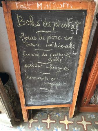 Soulatge, Frankreich: le menu