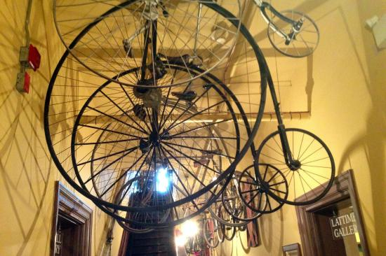 Huron County Museum: Cool old bicycles hanging from ceiling
