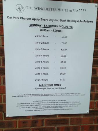 The Winchester Hotel & spa: Hotel car park charges