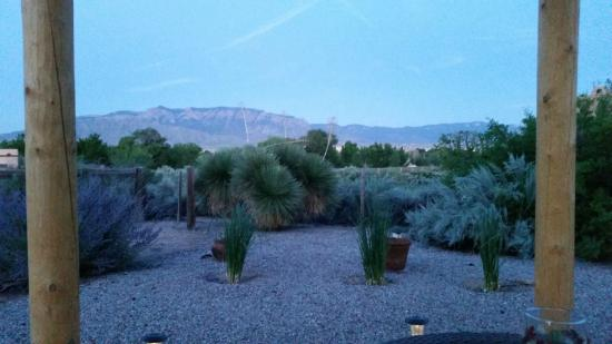 Corrales, NM: View of Sandia Mountains from Yard of Chocolate Turtle