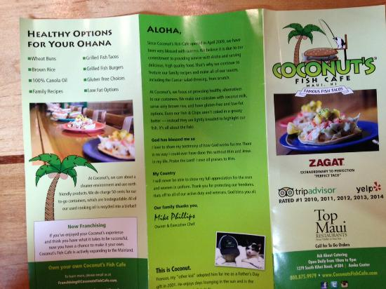Inside the menu picture of coconut 39 s fish cafe kihei for Coconut s fish cafe