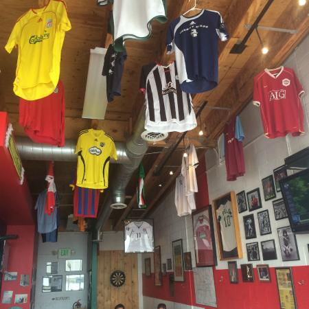 GB Fish and Chips : Futbol jerseys decorate