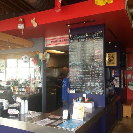 GB Fish and Chips : Menu and interior