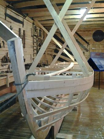 A Boat Under Construction As A Display Wooden Boat Museum Of