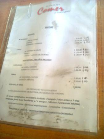 Quilmes, Argentina: Lista de precios del cubierto