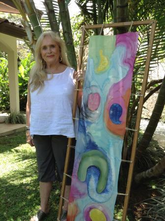 "Barbara Rabkin Art Studio: Student with wearable art silk scarf 15x60"""